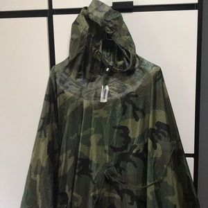Unused military camouflage rain poncho